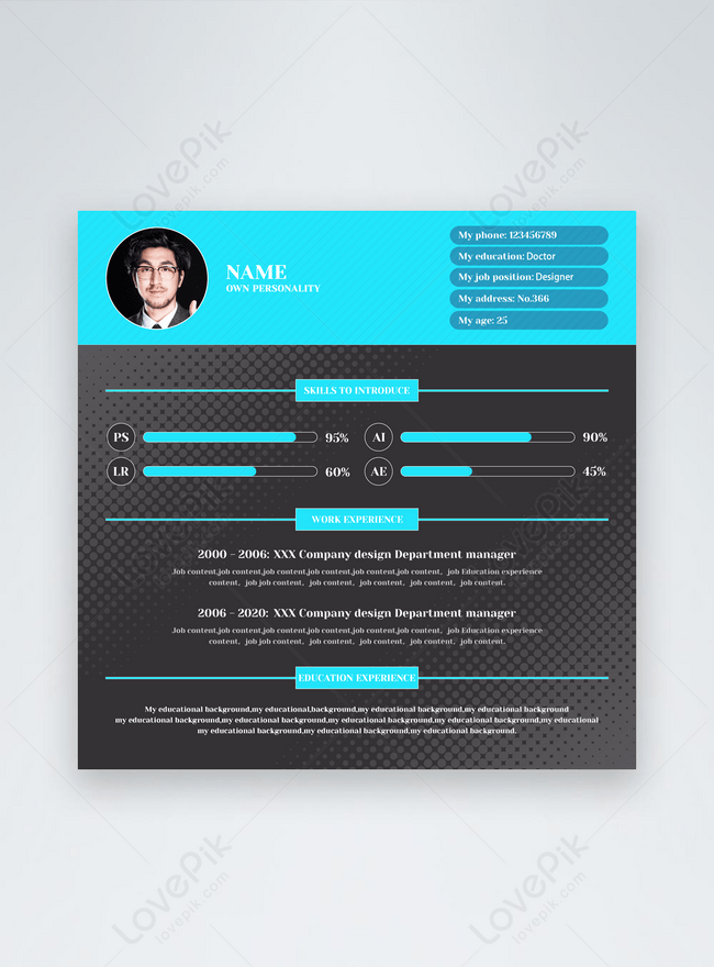 simple blue job recruitment online resume template social media banner