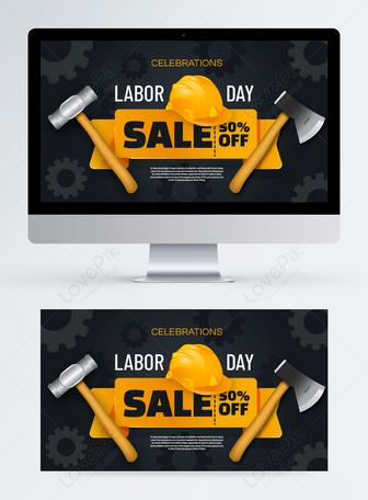 Banner de promoción del día del trabajo negro y amarillo Plantillas