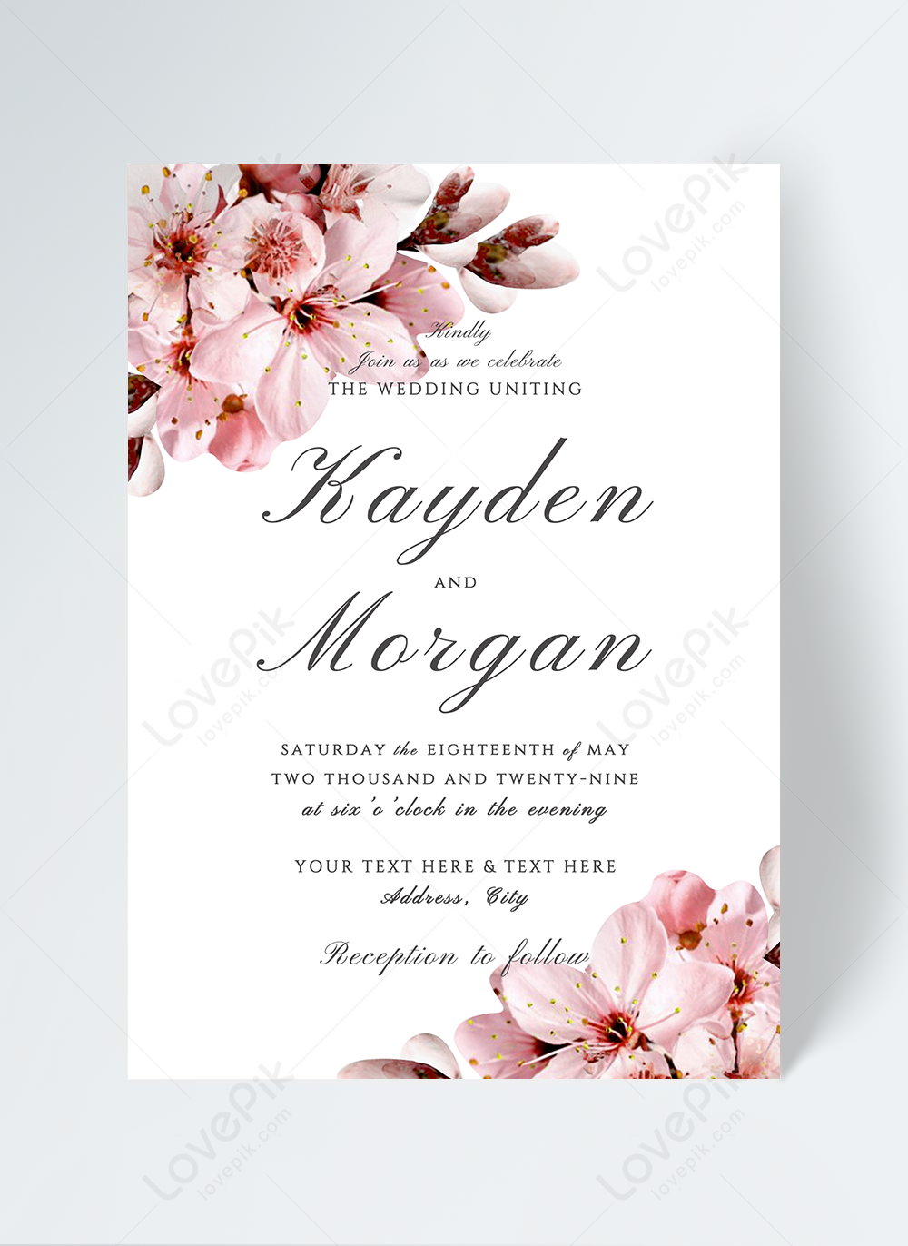 Modern fashion beautiful sweet pink cherry blossom elements