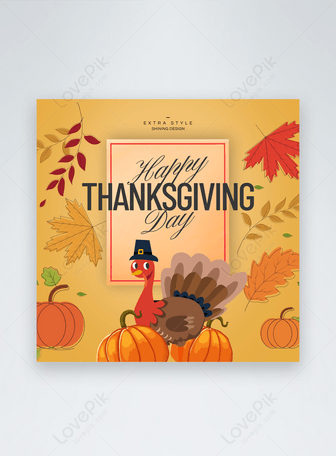 Kartun Thanksgiving web romantis sederhana ui media sosial Templat