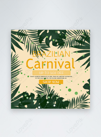 Brazil carnival yellow style social media Templates