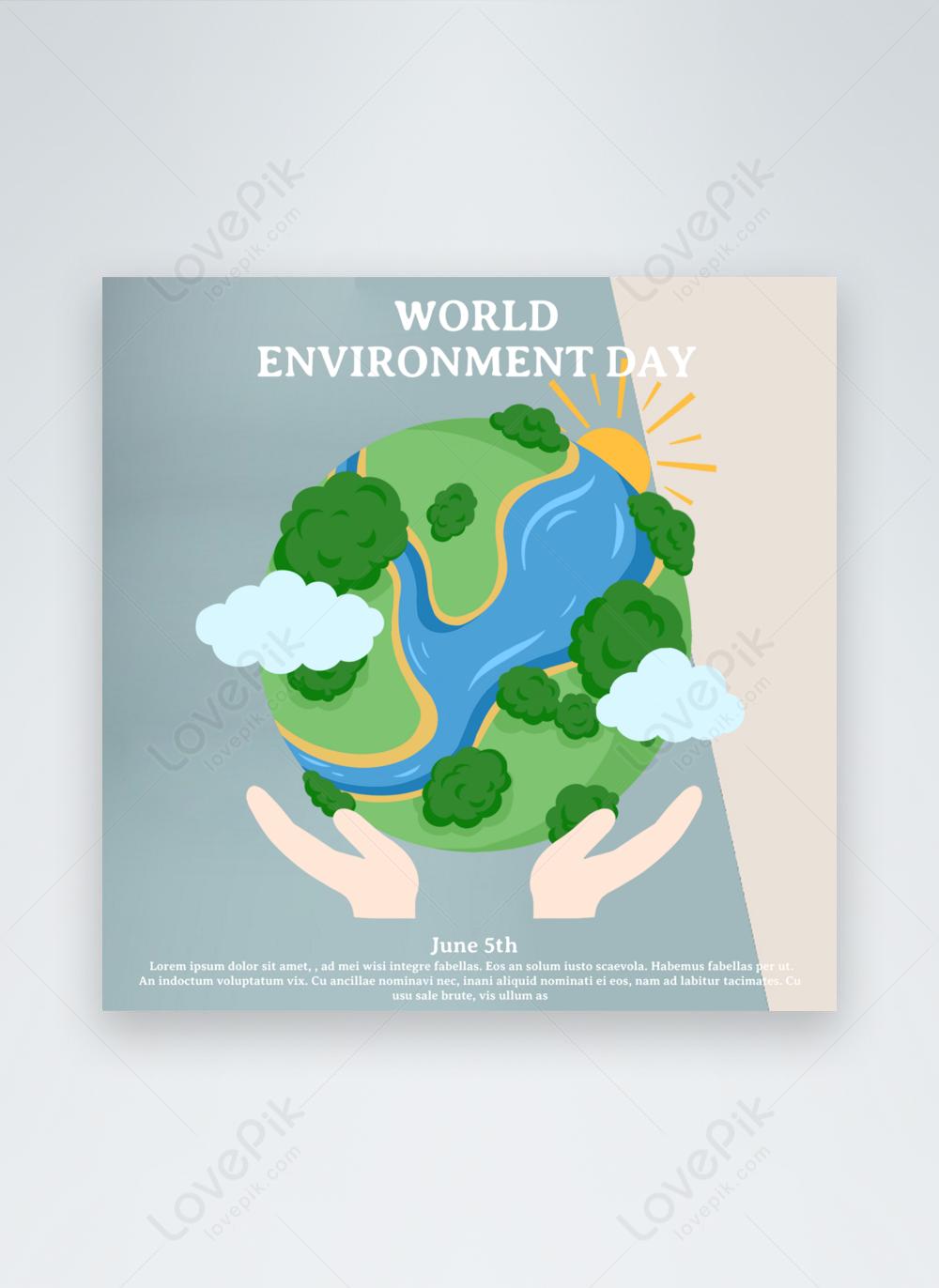 kartun template liburan hari lingkungan dunia biru