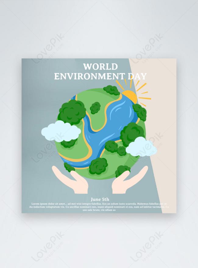 漫画の青い世界環境の日休日テンプレート