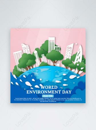 Plantilla de vacaciones del día mundial del medio ambiente rosa de dibujos animados Plantillas