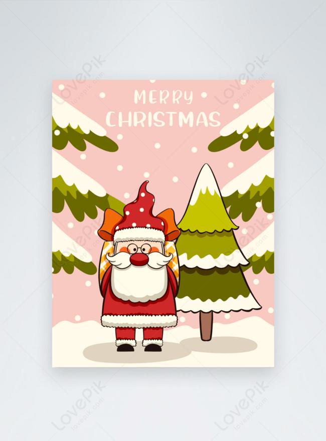 Kad Ucapan Merry Christmas Gaya Comel Berwarna Merah Jambu Gambar Unduh Gratis Imej 465542652 Format Psd My Lovepik Com