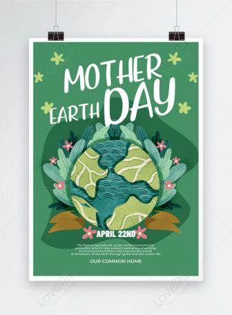 Grüne Hand gezeichnete Art Erde Tag Poster Vorlagen
