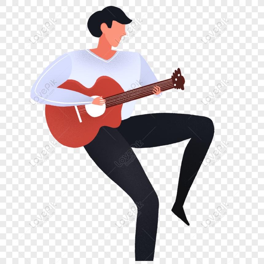 Gratis Homem Bonito Dos Desenhos Animados Tocando Guitarra Png