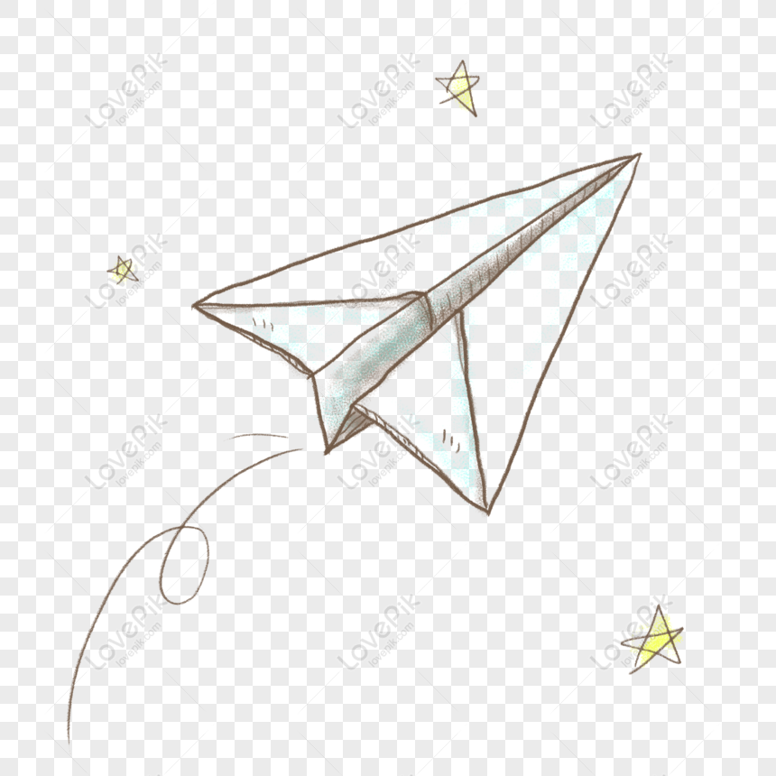 Free Hand Drawn Stick Figure Simple Cute Fresh Paper Plane Png
