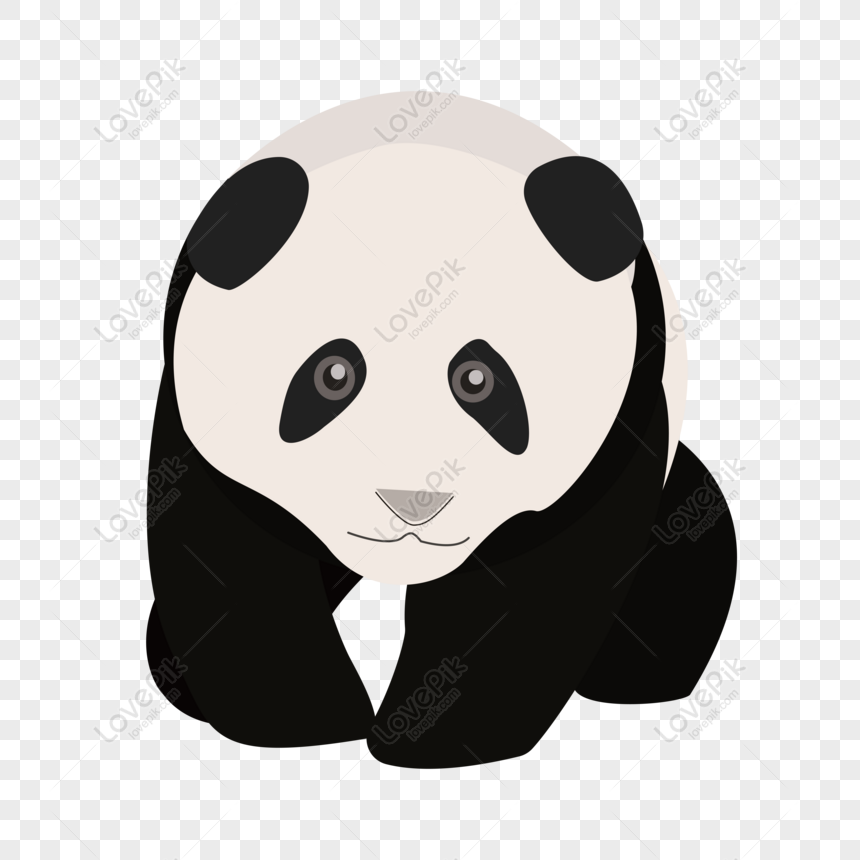 Gratuit Trésor National Panda Animal Mignon Vecteur Noir Et