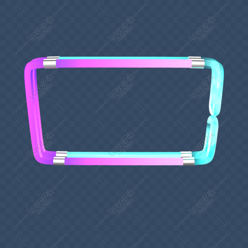 tech colorful neon border 25d png