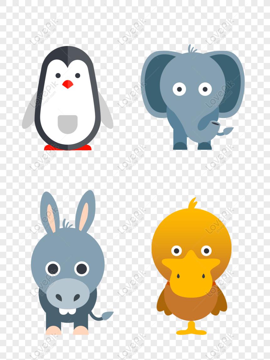 Gratis Desenhos Animados Animais Pato Elefante Pinguim Combinacao