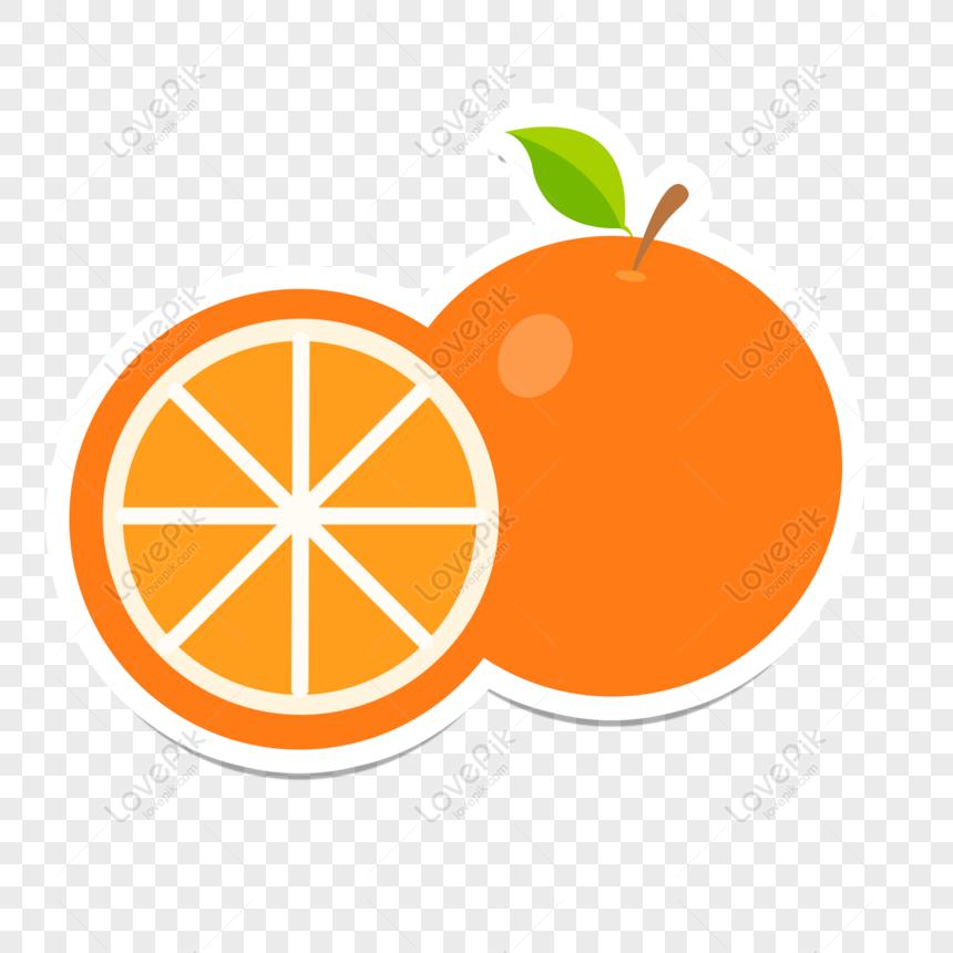 Gratis Laranja De Frutas De Etiqueta Plana Dos Desenhos Animados