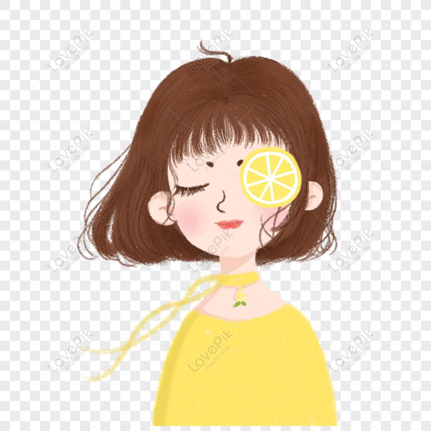 Free Hand Drawn Cartoon Cute Short Hair Beauty With Lemon Slices