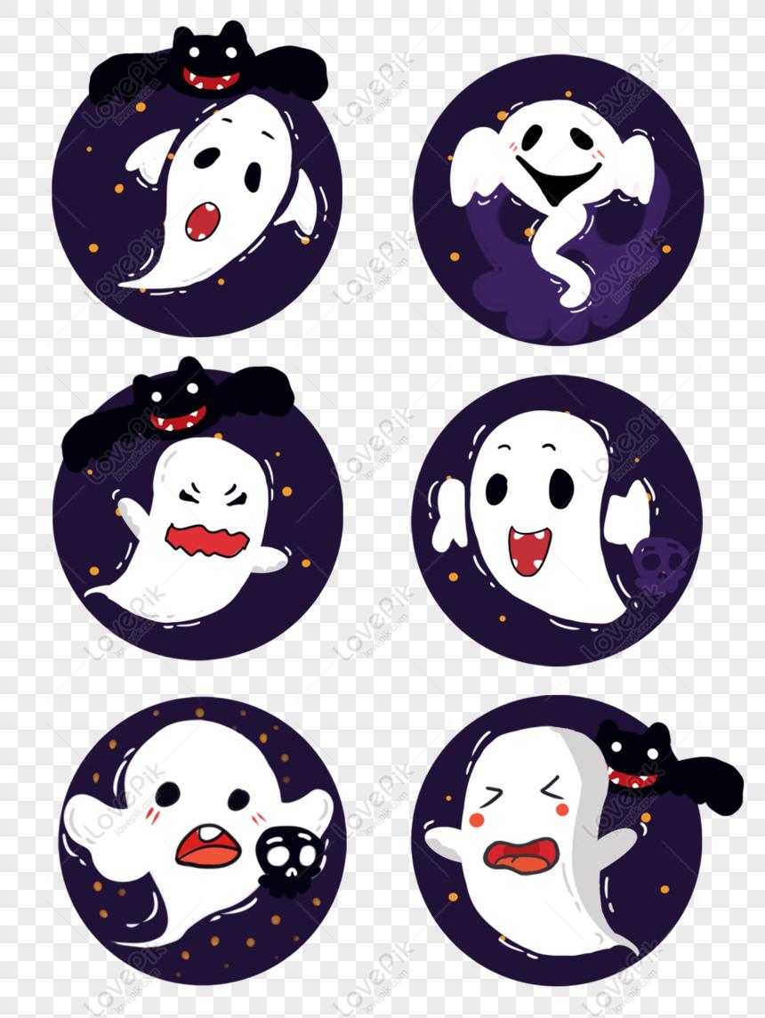 Percuma Halloween Hantu Kartun Putih Seram Unsur Ilustrasi