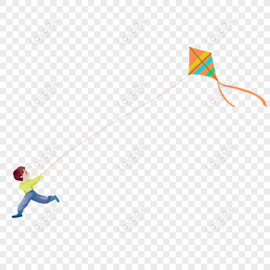 hand drawn cartoon little boy flying a kite png