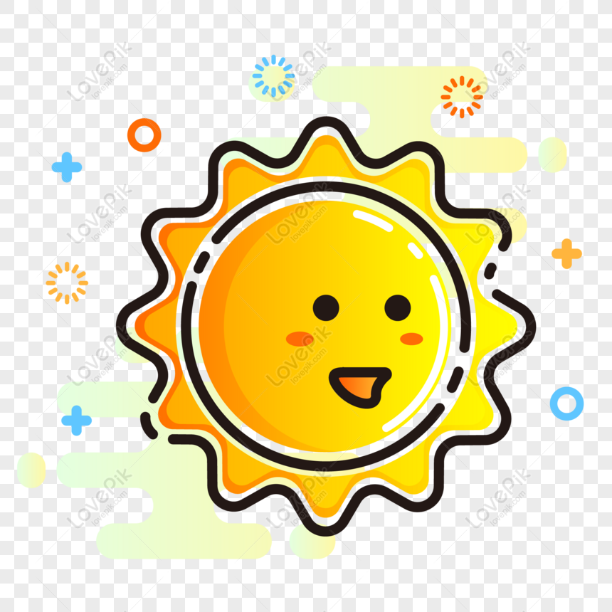 mbe style cute little sun sunny day vector element icon png