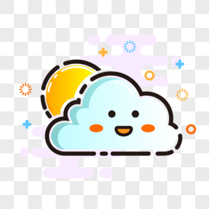 MBE style weather icon cute cloudy vector element png