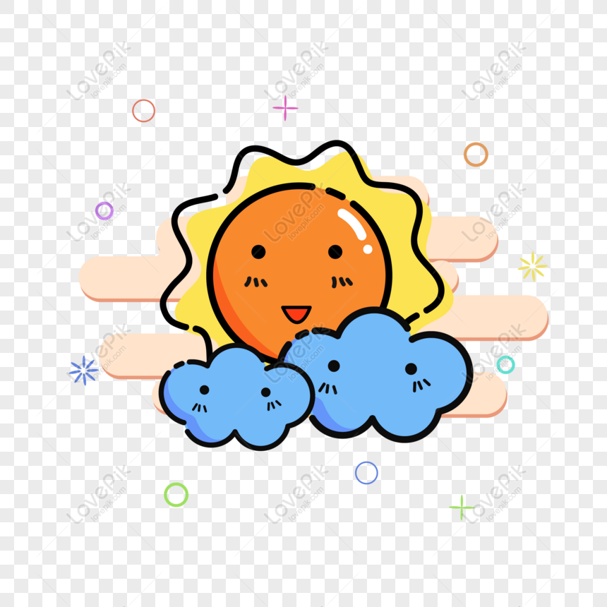 mbe cute sun sunny cloudy weather icon vector material png