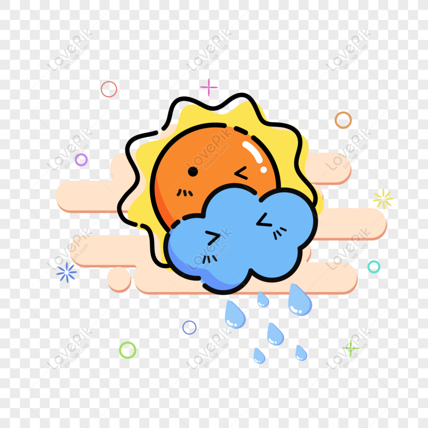 mbe cute sun cloud shower weather phone icon vector material png