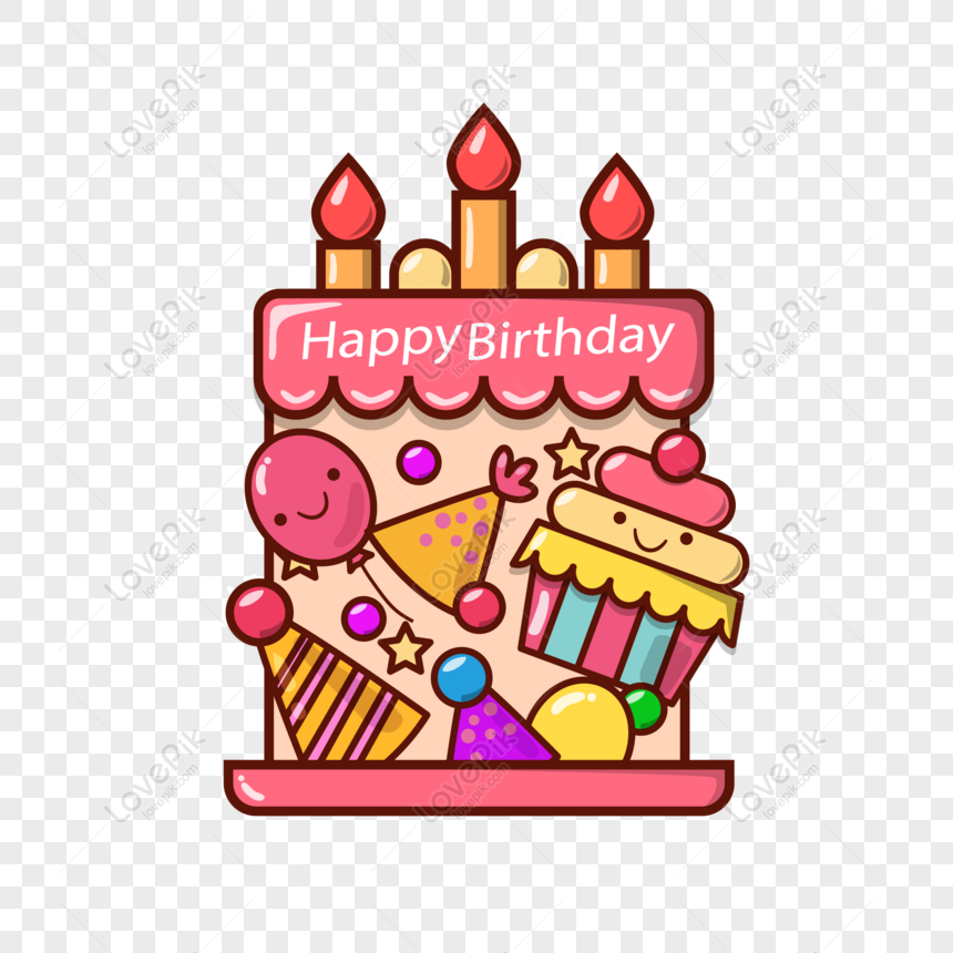 Free Cartoon Style Happy Birthday Cake Elements Png Ai Image Download Size 2293 2293 Px Id 832515569 Lovepik
