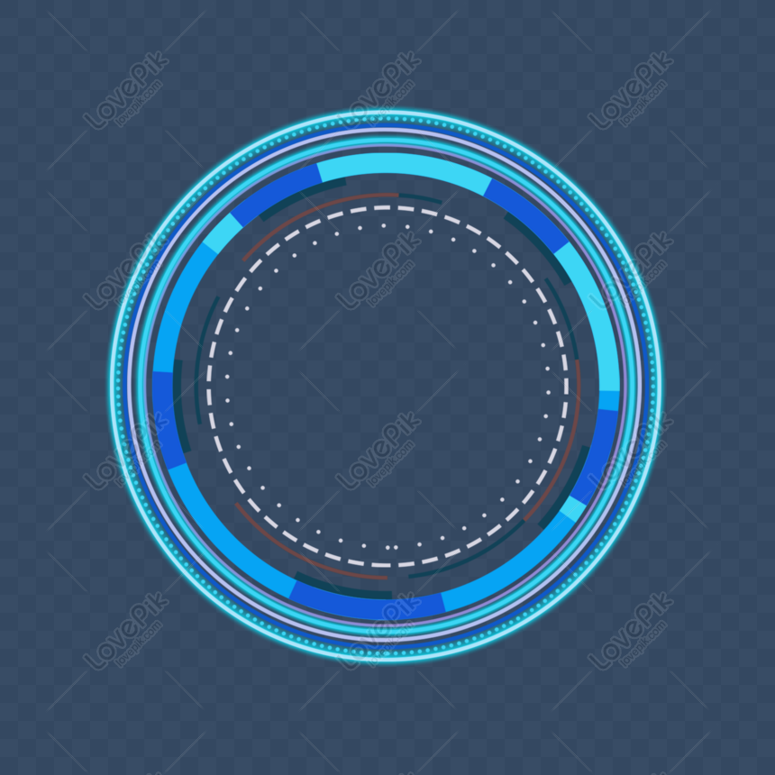 blue futuristic technology border geometric border round frame d png