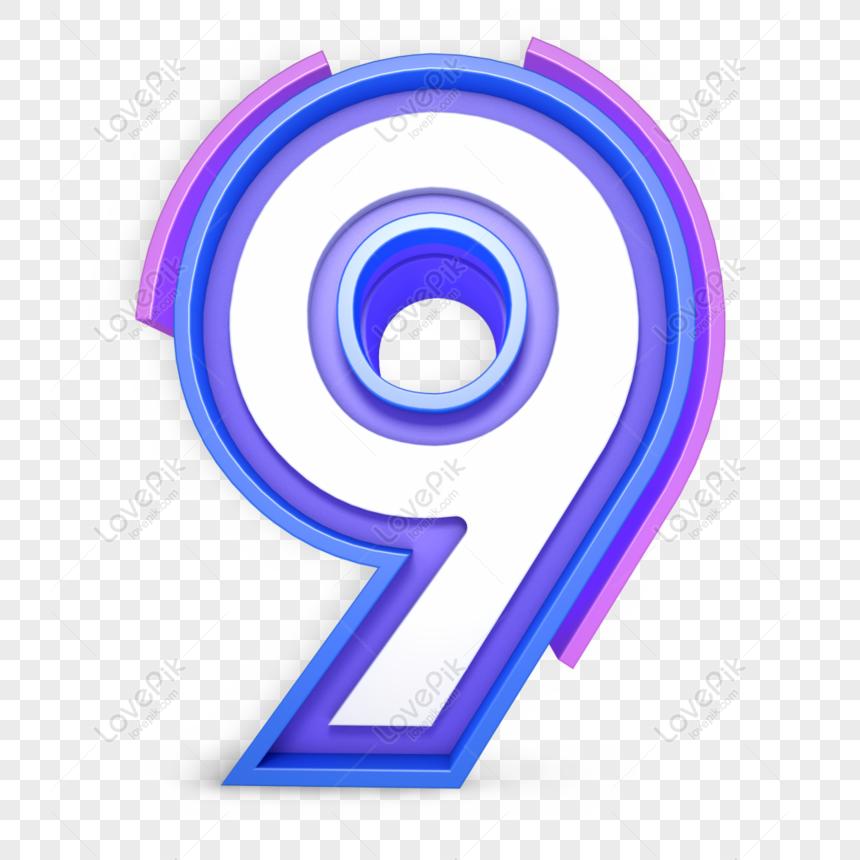 Blue Number 9 Png