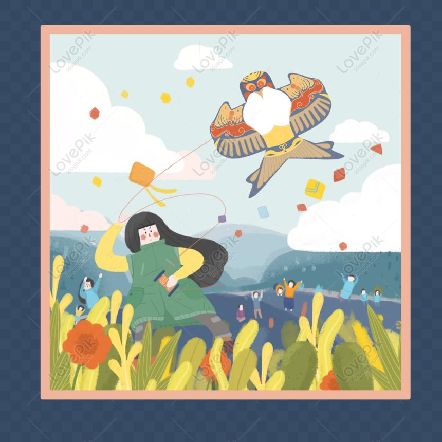 hand drawn cartoon spring kite scene png