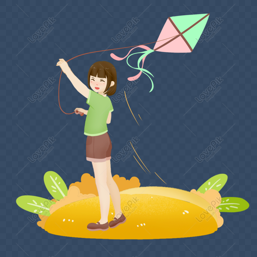 girl grass flying kite cartoon character element png