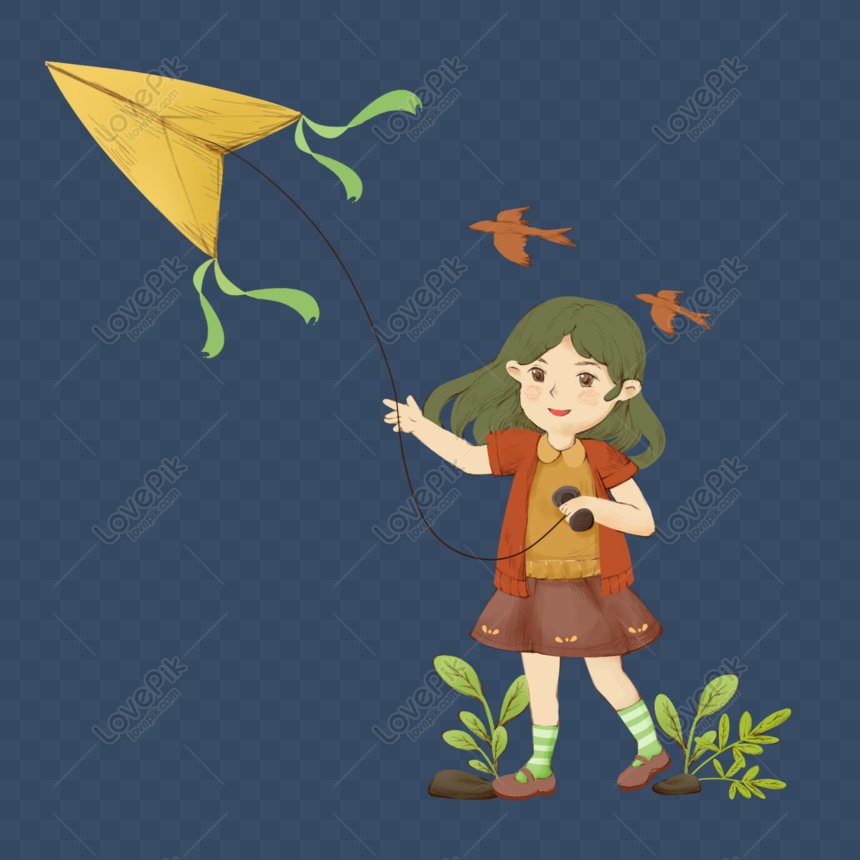 girl grass flying kite can be commercial scene png