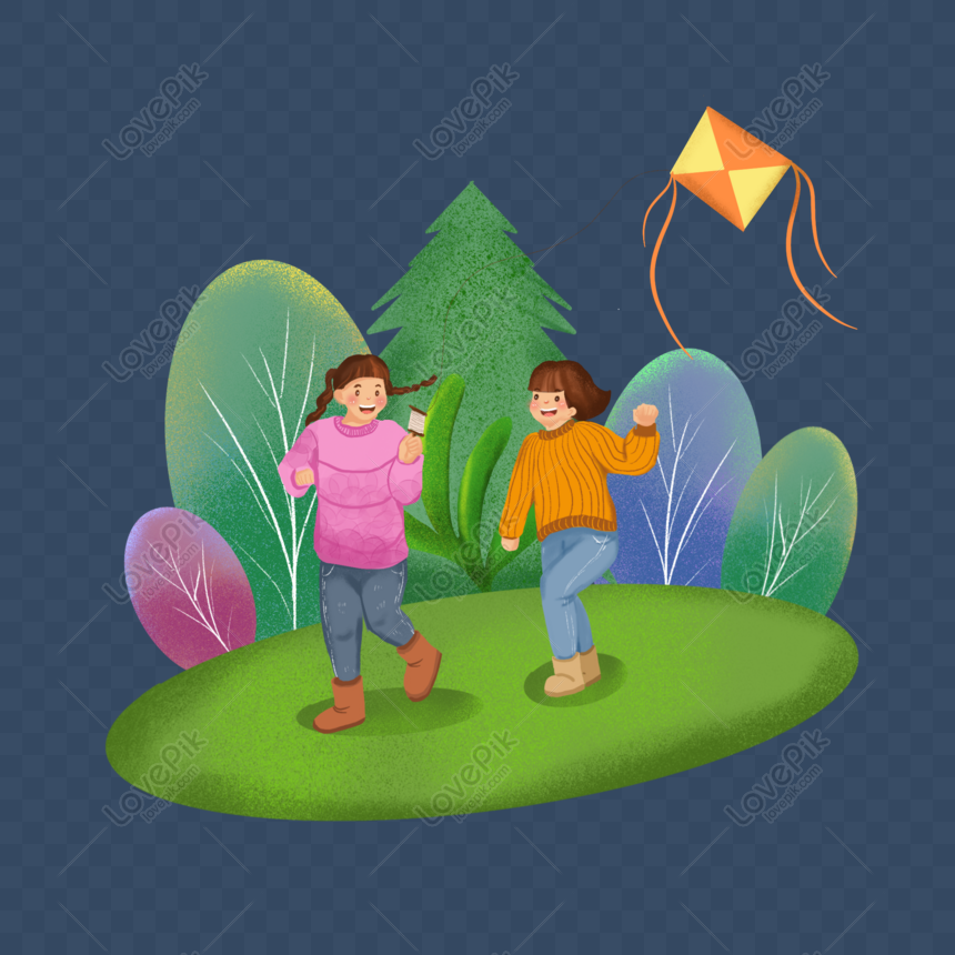 kite flying in the spring flying a kite png