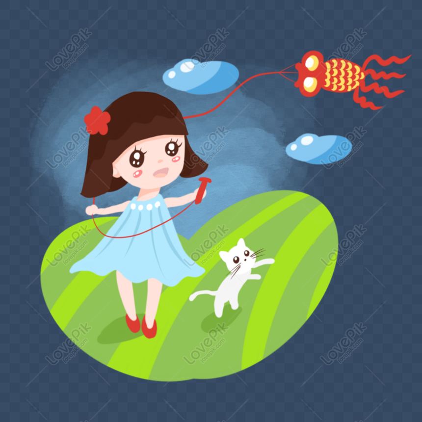 hand drawn cartoon spring grass flying kite girl png