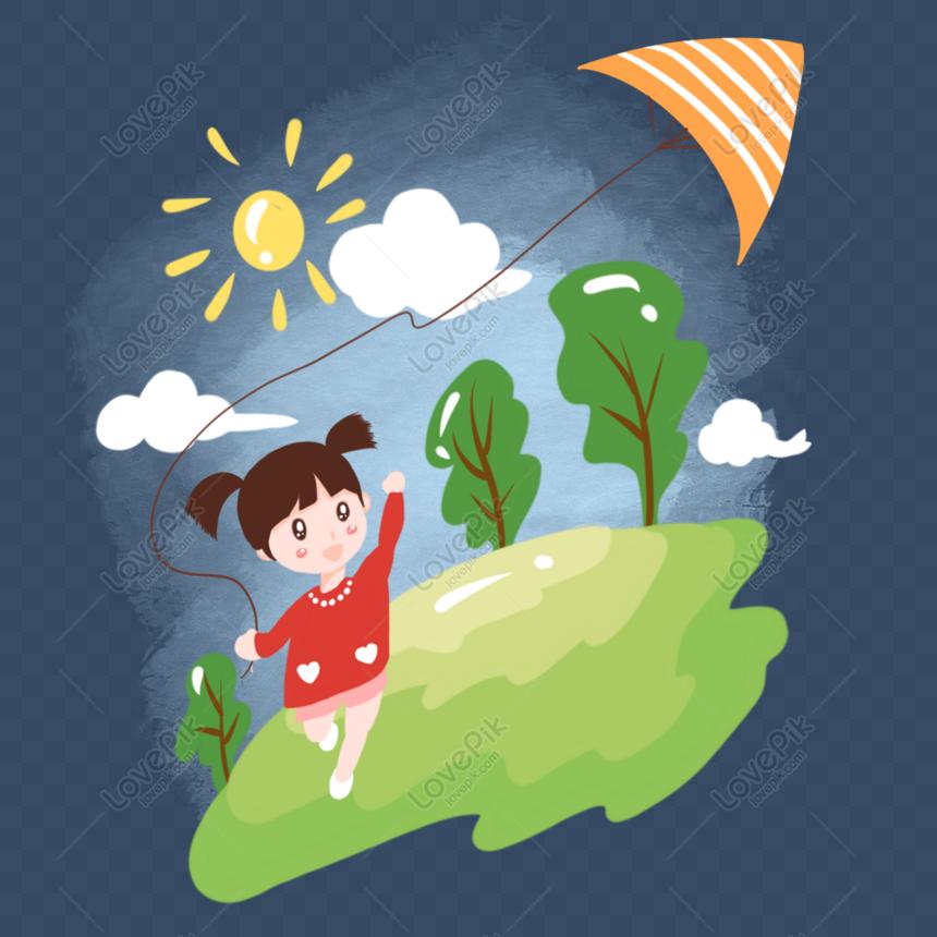 hand drawn cartoon spring grass flying kite girl png