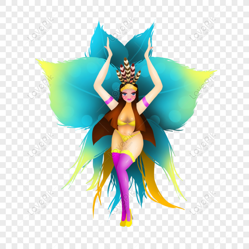 imagen de caricatura de bailarina de carnaval brasileña dibujada png