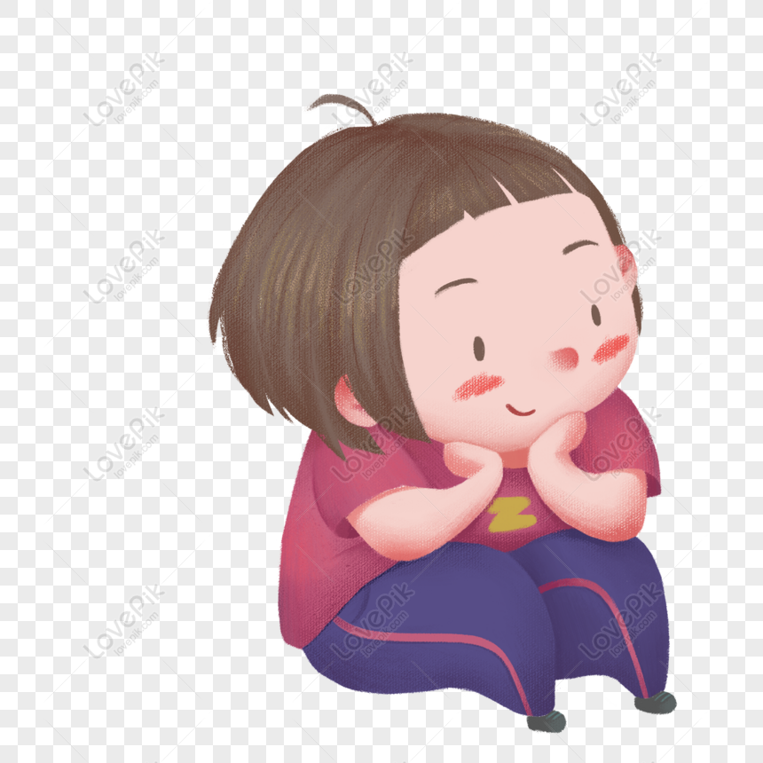 Free Short Hair Girl Illustration Character Design With Hands Png Psd Image Download Size 2000 2000 Px Id 833533648 Lovepik