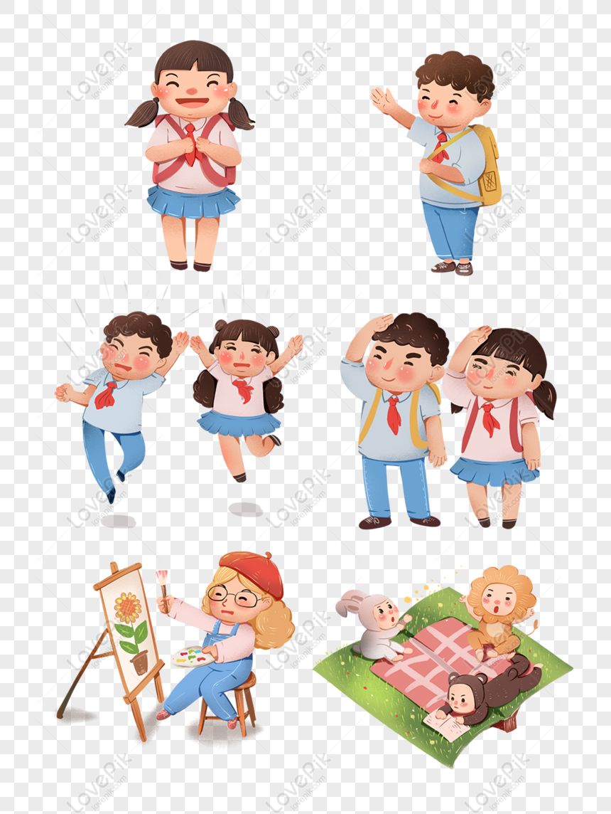 Free Cute Schoolboy Cartoon Image PNG & PSD Image