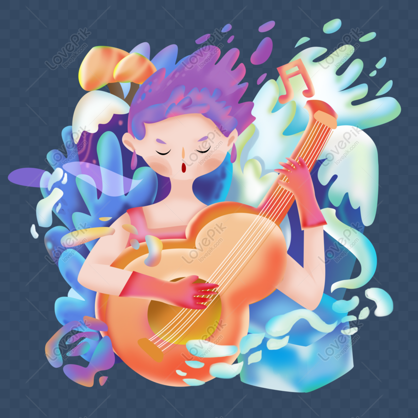 candy gradual style 38 womens day girl playing guitar png