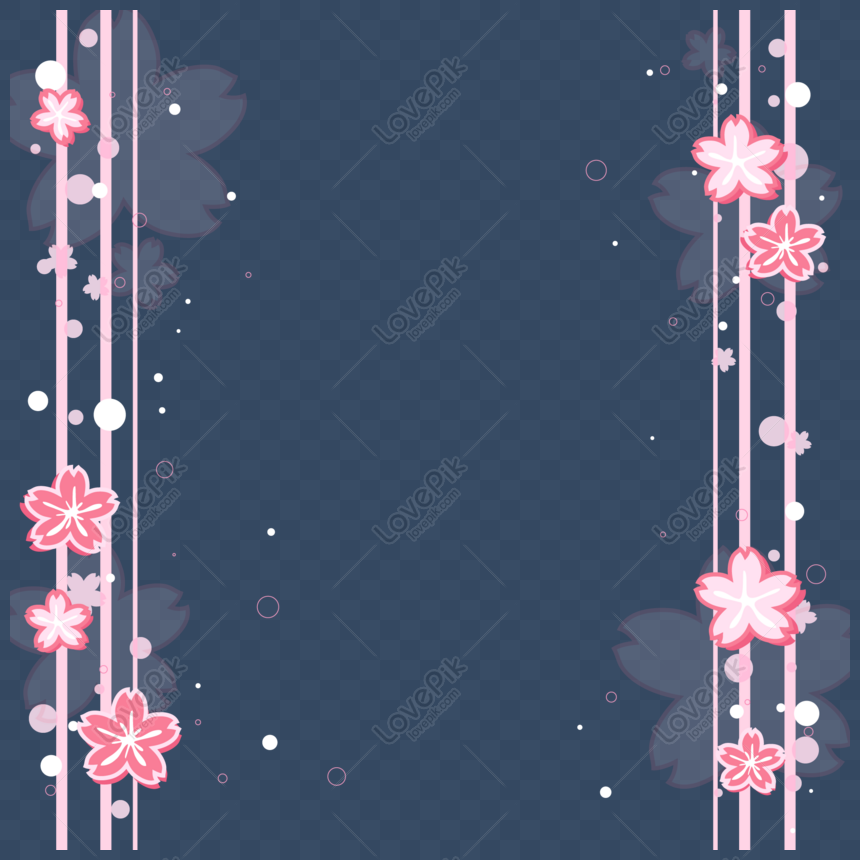 cute cherry blossom sticker border vector png