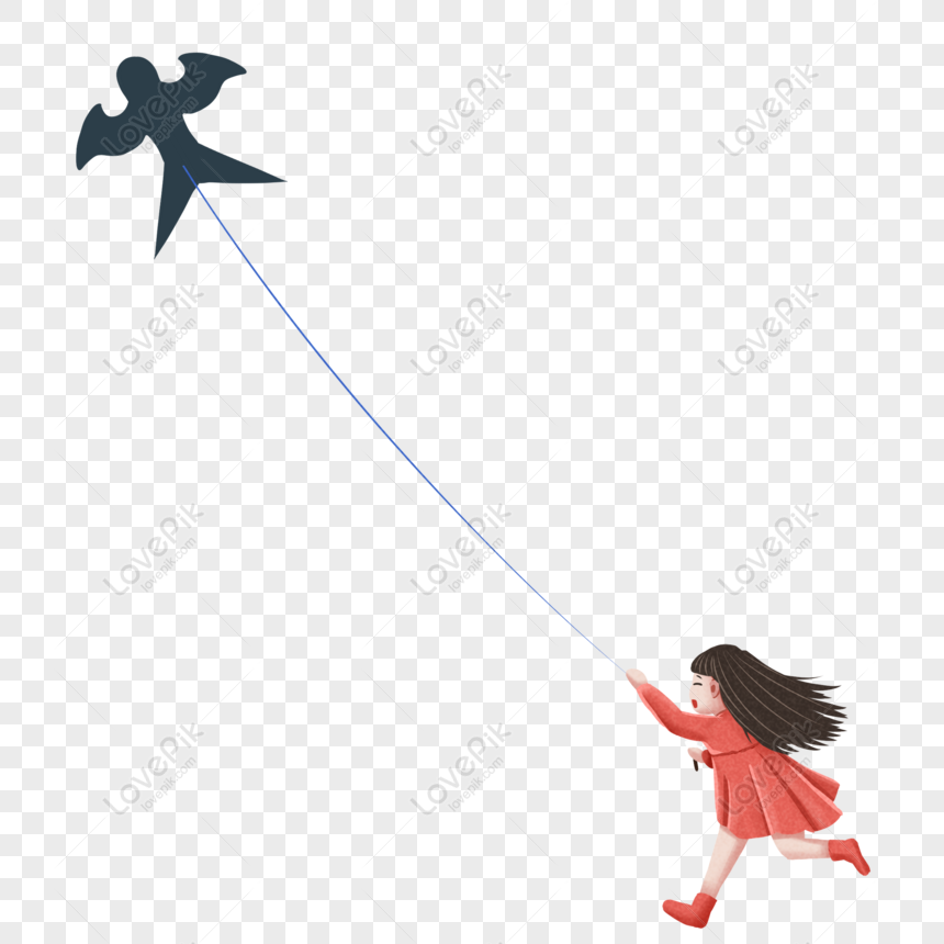hand drawn cute girl flying a kite in spring png