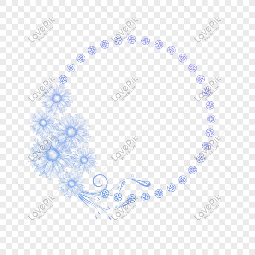 purple flowers round frame free 抠 psd transparent material png