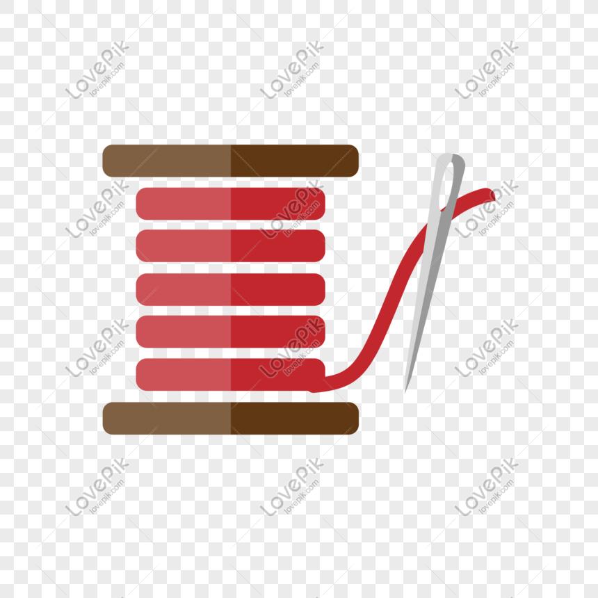 Rolo De Linha Vermelha E Agulha De Costura Png Elemento Imagem