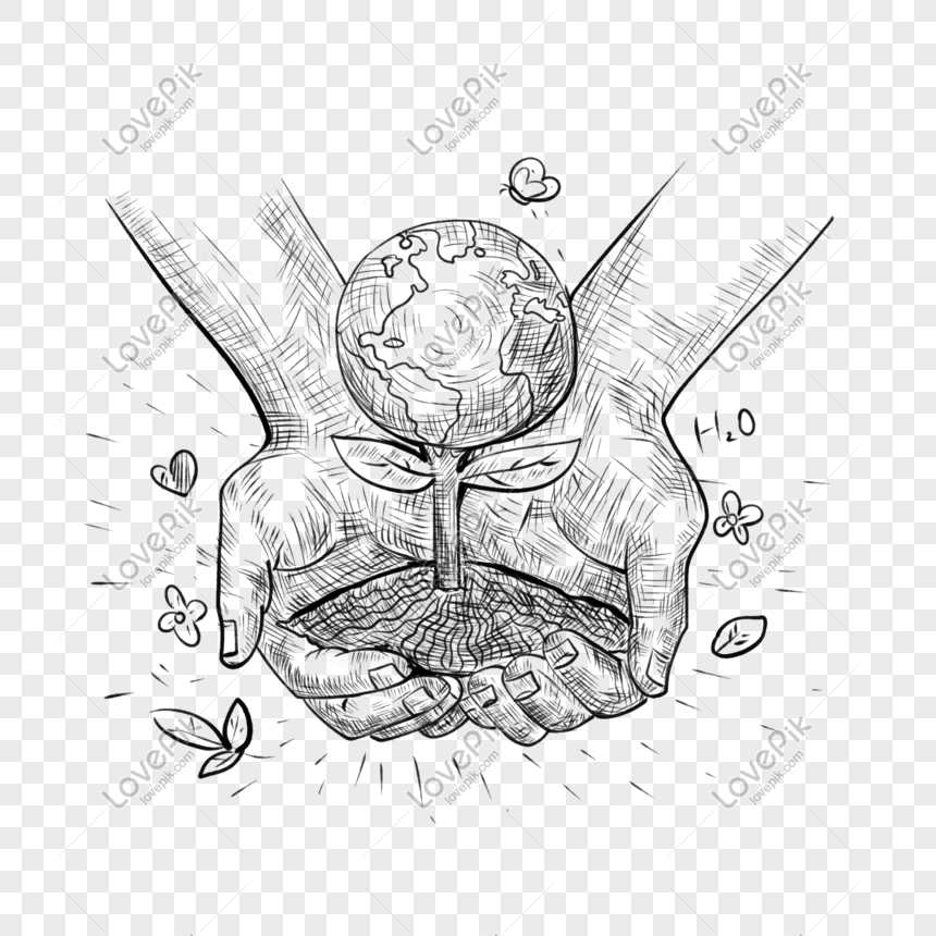 Sosok Tongkat Sketsa Perlindungan Lingkungan Genggam Elemen Bu