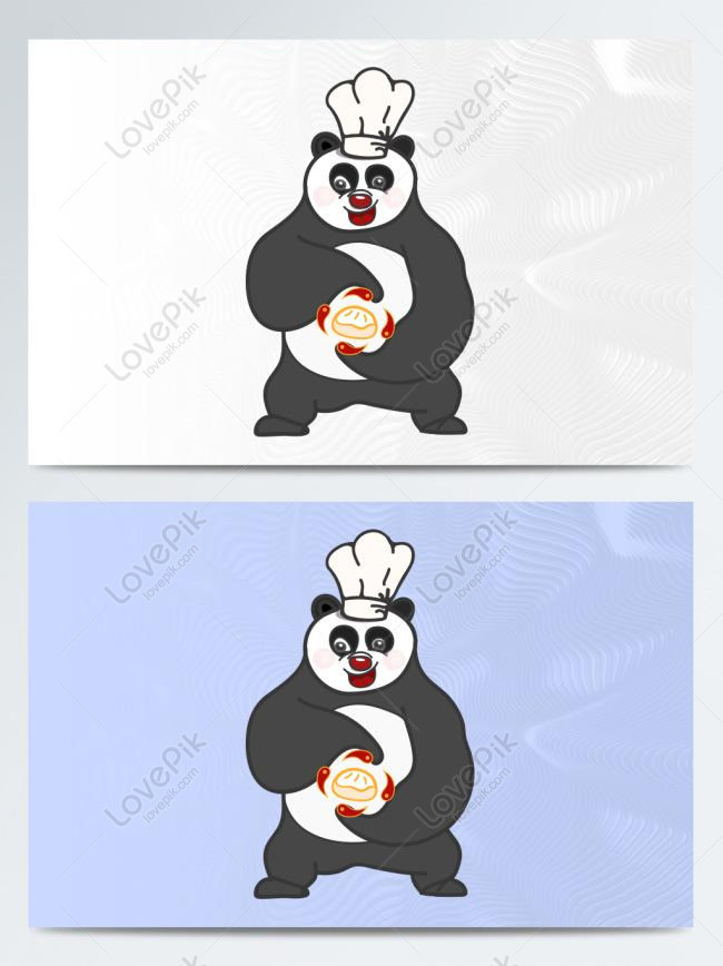 hand drawn panda buns chef cartoon figure standing pose