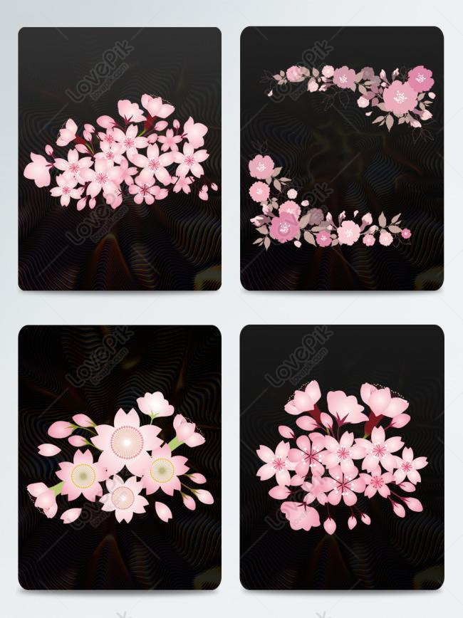 japanese style and wind pink cherry blossom page decoration elem