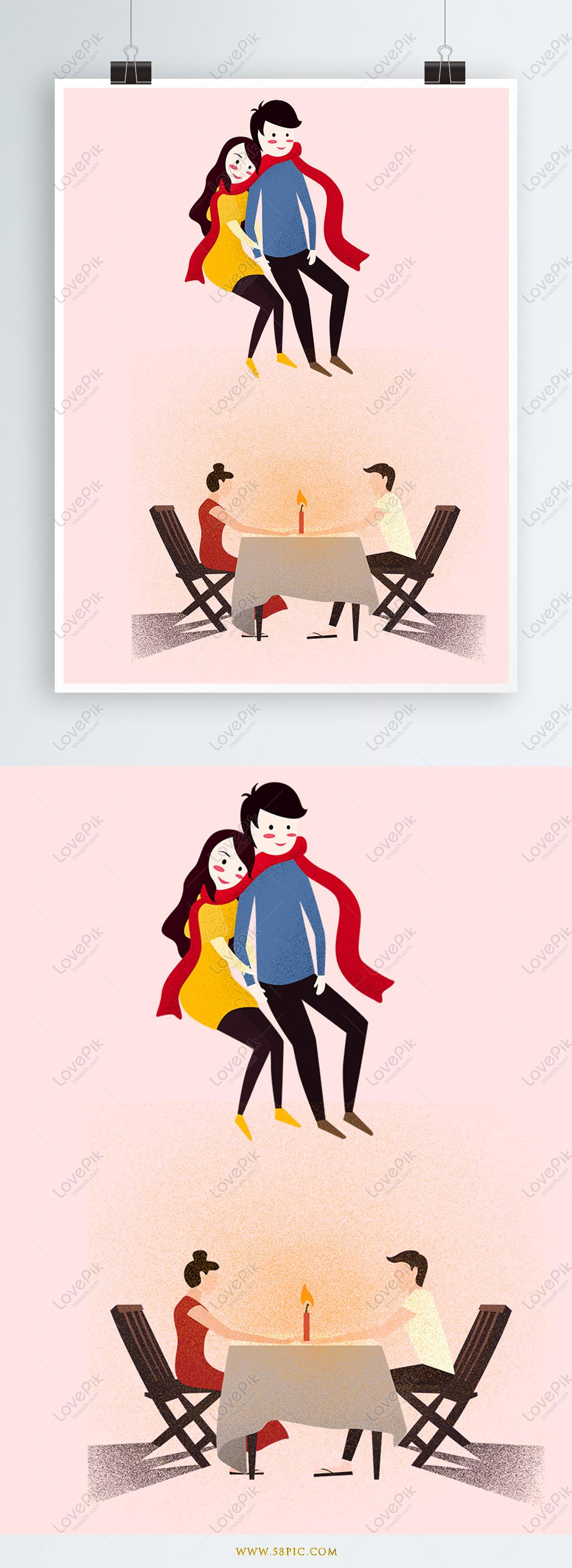 Rooftop Romantic Candlelight Dinner Couple Proposal Confession I Illustration Image Picture Free Download 630021052 Lovepik Com
