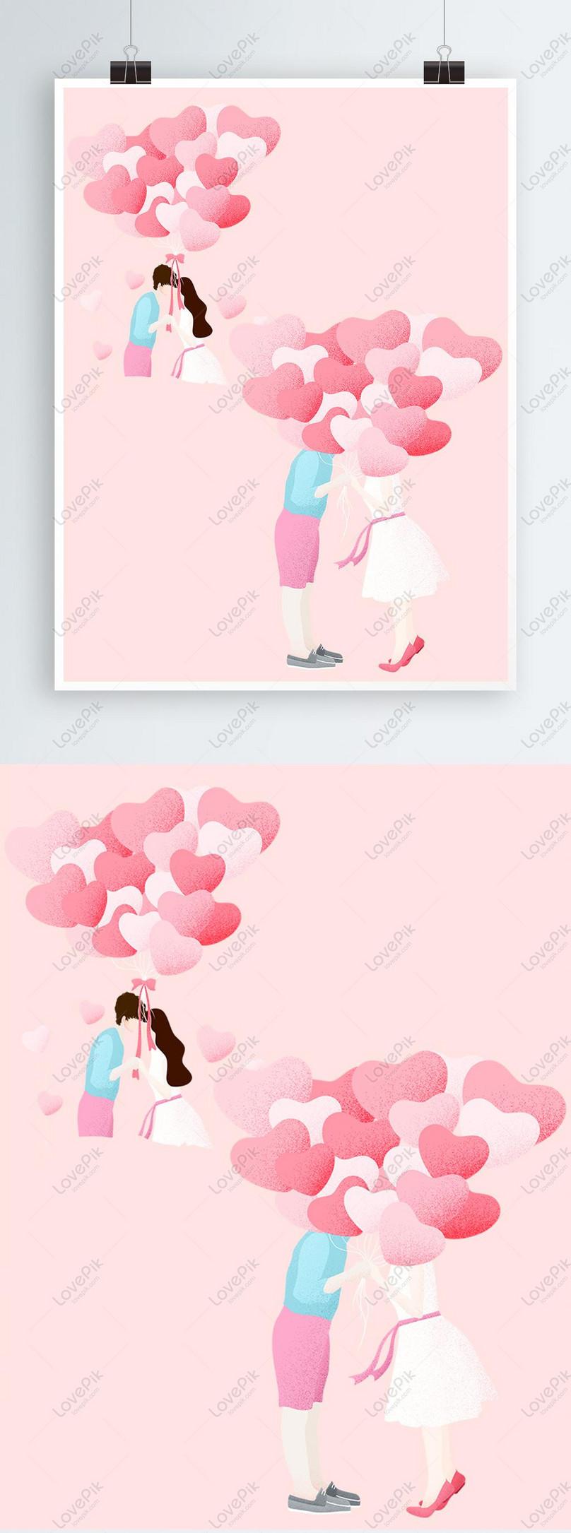 Tangan Memegang Belon Cinta Lukisan Valentine Romantis Gambar