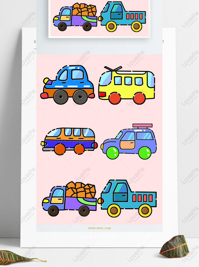 Cute Cartoon Car Various Trucks PSD Images Free