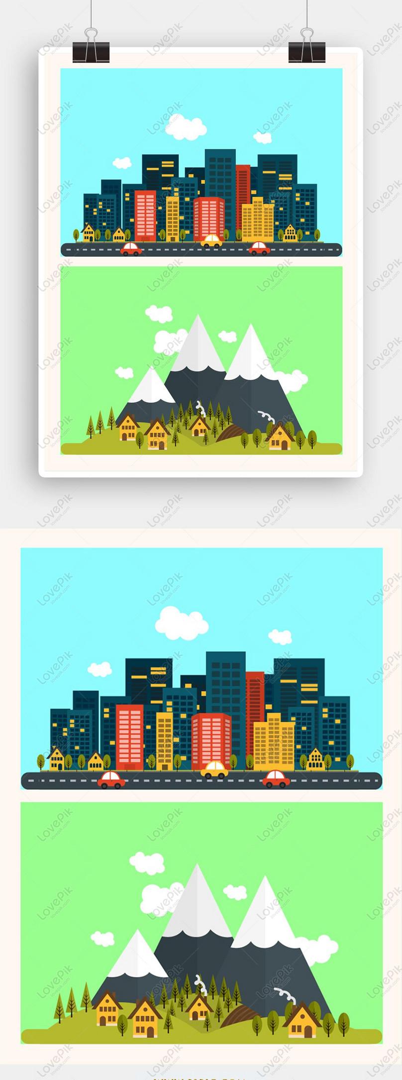 cartoon city buildings vector elements