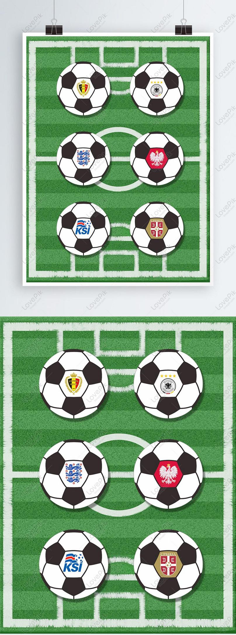 Elemen Desain Logo Tim Piala Dunia Gambar Unduh Gratis