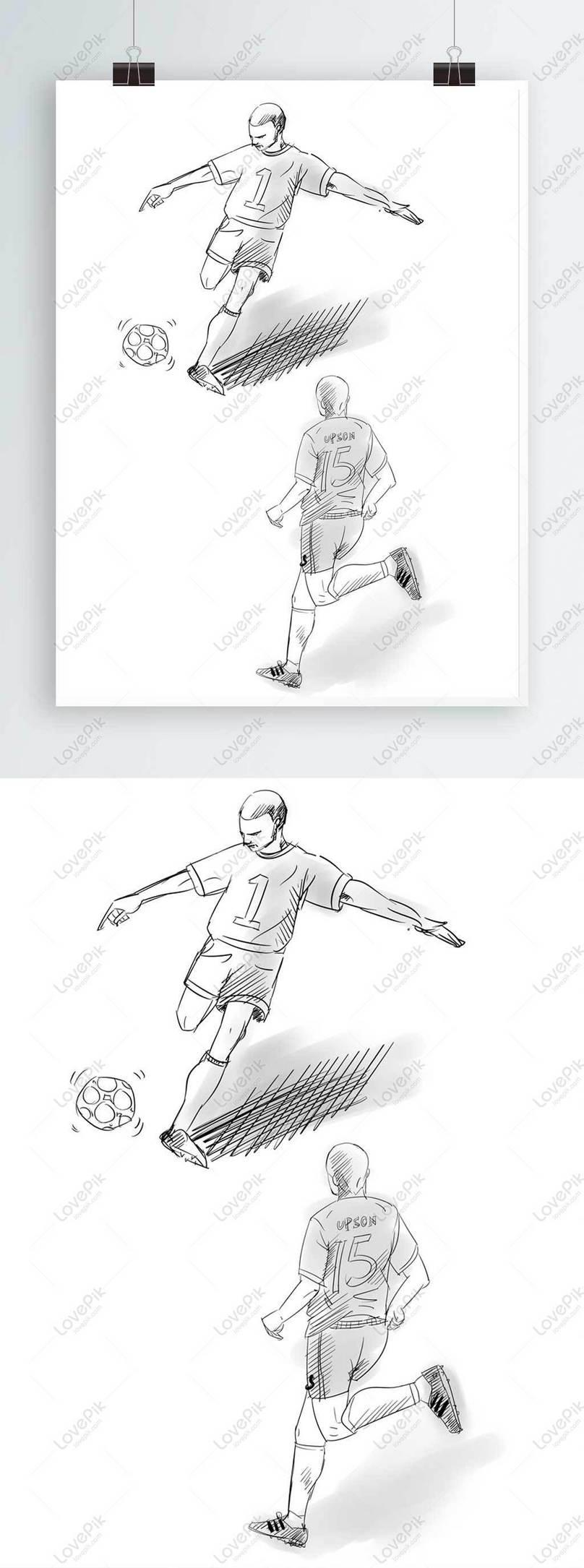 Sketsa Pemain Bola Sepak Menendang Bola Gambar Unduh