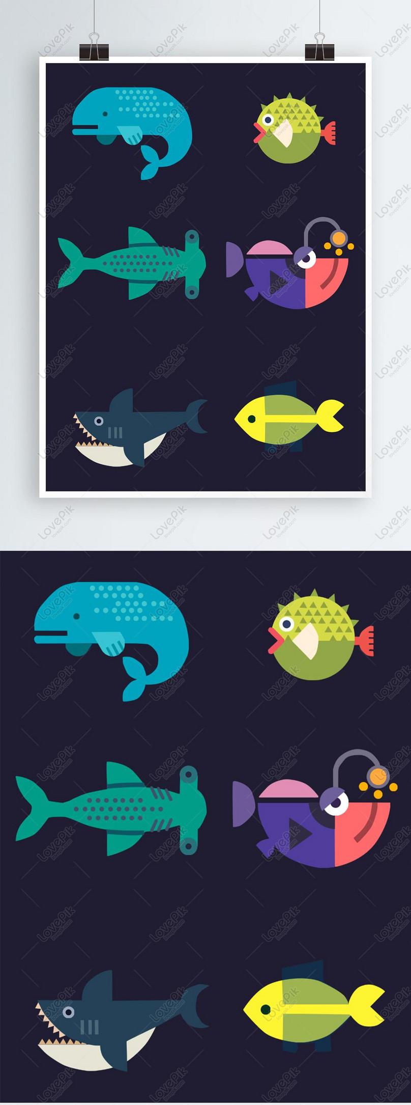 Unsur Corak Kartun Ikan Bawah Laut Hd Gambar Unduh